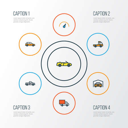 Automobile Colorful Outline Icons Set. Collection Of Pickup, Van, Machine And Other Elements. Also Includes Symbols Such As Counter, Van, Pickup. Illustration