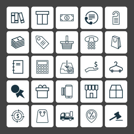school bills: E-Commerce Icons Set. Collection Of Price, Ticket, Shop And Other Elements