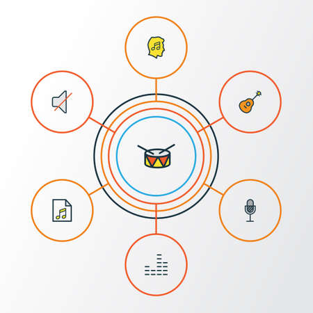 Audio Colorful Outline Icons Set 일러스트