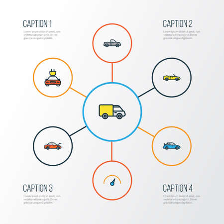 Automobile Colorful Outline Icons Set. Collection Of Auto, Electric, Speed And Other Elements