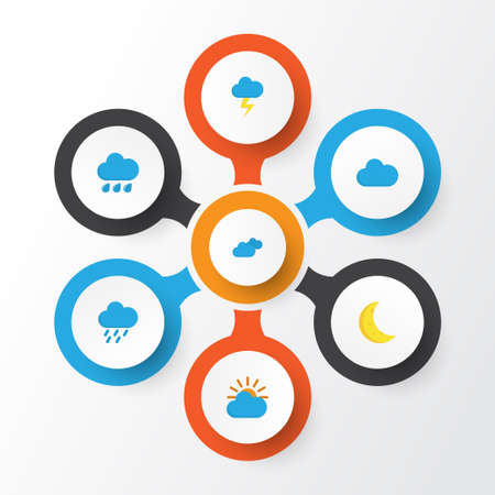 Air Flat Icons Set. Collection Of Rain, The Flash, Shower And Other Elements