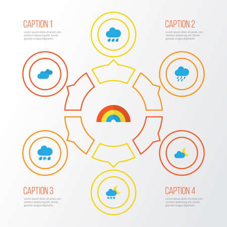 Weather Flat Icons Set. Collection Of Shower, Overcast, Drizzles And Other Elements Illustration