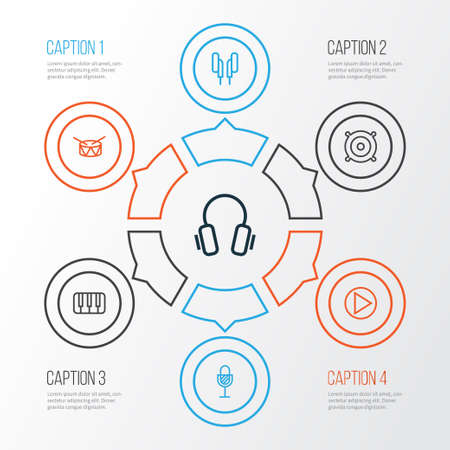 Multimedia Outline Icons Set. Collection Of Amplifier, Keys, Earphones And Other Elements