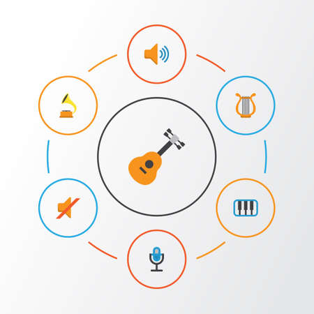 Music Flat Icons Set. Collection Of Karaoke, Audio, Quiet And Other Elements