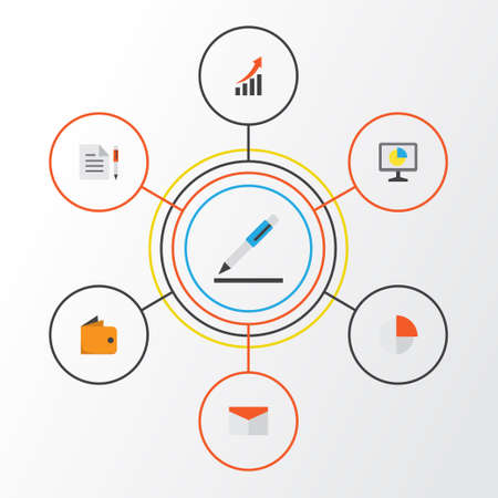 Trade Flat Icons Set. Collection Of Statistics, Pie Bar, Increasing And Other Elements