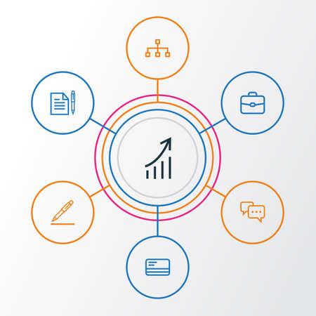 Job Outline Icons Set. Collection de carte bancaire, convention, signature de contrat et autres éléments. Comprend également des symboles tels que Statistiques, Porte-documents, Carte. Banque d'images - 83435271