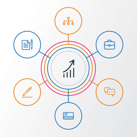 Job Outline Icons Set. Collection Of Bank Card, Agreement, Contract Signing And Other Elements. Also Includes Symbols Such As Statistics, Briefcase, Card.
