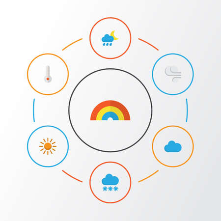 Air Flat Icons Set. Collection Of Snow, Bow, Storm And Other Elements. Also Includes Symbols Such As Rainbow, Temperature, Cloudy.