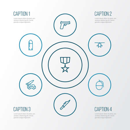 Warfare Outline Icons Set. Collection Of Bombshell, Cutter, Military And Other Elements