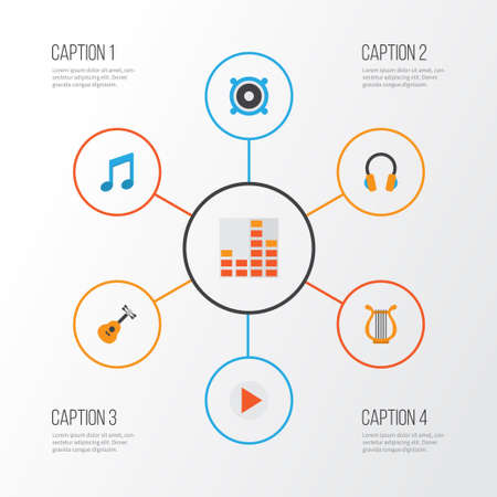 Audio Flat Icons Set. Collection Of Tone, Loudspeaker, Controlling And Other Elements Illustration