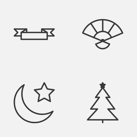 Year Icons Set. Collection Of Crescent, Decorated Tree, Japan Souvenir And Other Elements