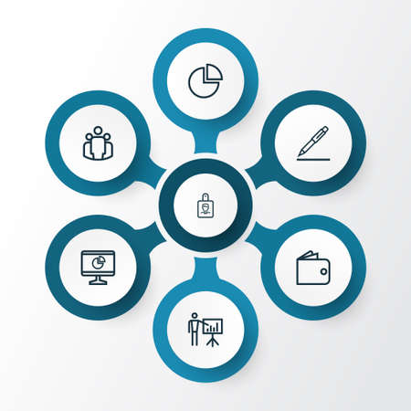 career entry: Job Outline Icons Set. Collection Of Contract Signing, Business Presentation, Circle Graph And Other Elements