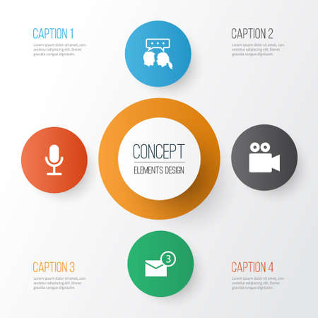 Internet Icons Set. Collection Of Camcorder, Conversation, Inbox And Other Elements Ilustrace