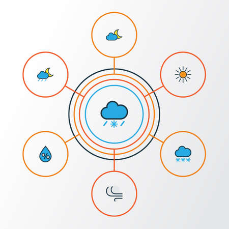 Climate Colorful Outline Icons Set. Collection Of Sunshine, Raindrop, Lunar And Other Elements Illustration