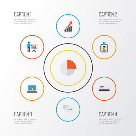 graphic display cards: Business Flat Icons Set. Collection Of Diagram, Increasing, Presenting Man And Other Elements