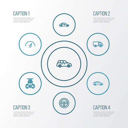 Car Outline Icons Set. Collection Of Caravan, Chronometer, Rudder And Other Elements
