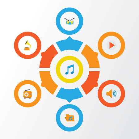 Music Flat Icons Set. Collection Of Portfolio, Audio, Button And Other Elements