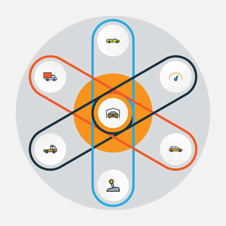 Car Colorful Outline Icons Set. Collection Of Van, Machine, Level And Other Elements