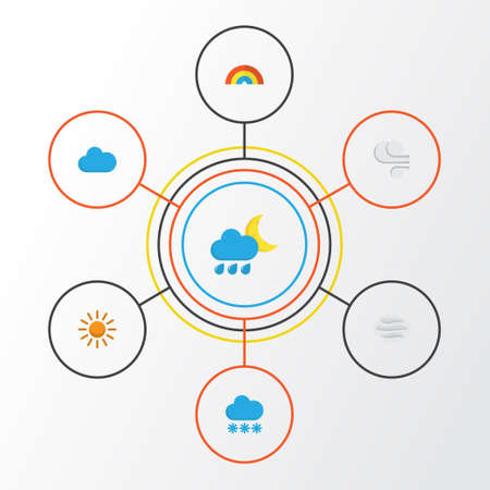 Air Flat Icons Set. Collection Of Hailstones, Storm, Windy And Other Elements