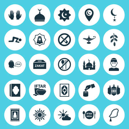 Religion Icons Set. Collection Of Building, Midday, Prayer Carpet And Other Elements