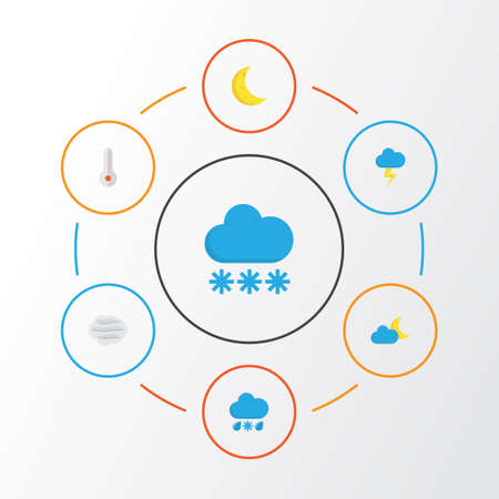 Air Flat Icons Set. Collection Of Moon, The Flash, Temperature And Other Elements