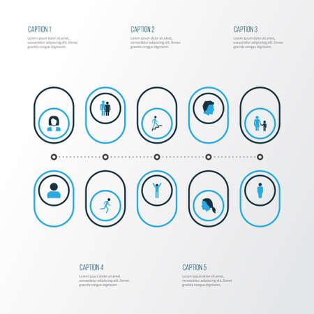 Menschliche bunte Icons Set Vektorgrafik