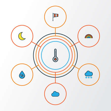 Colorful weather Outline Icons Set Illustration