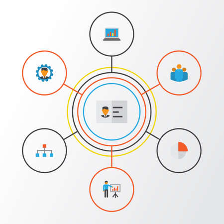 Job Flat Icons Set. Collection Of Pie Bar, Group, Diagram And Other Elements