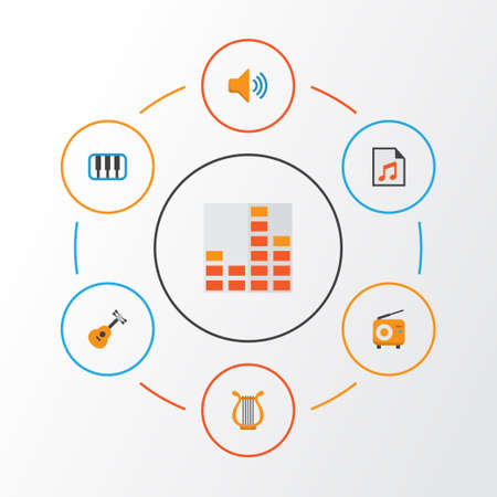 Audio Flat Icons Set. Collection Of Media, Sonata, Broadcasting And Other Elements