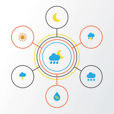 Air Flat Icons Set. Collection Of Lightning, Sun, Snow And Other Elements