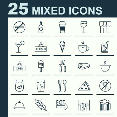 supper: Cafe Icons Set. Collection Of Silverware, Beverage, Board And Other Elements