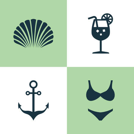 Season Icons Set. Collection Of Bikini, Armature, Conch And Other Elements Illustration