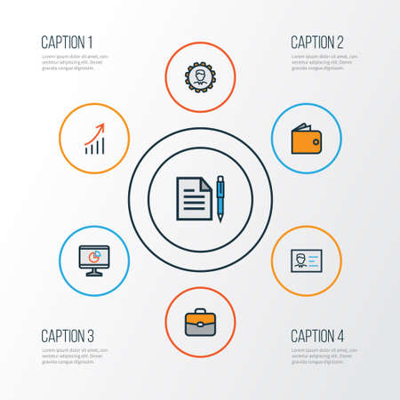 billfold: Job Colorful Outline Icons Set. Collection Of Financial Profit, Pie Chart, Administrator And Other Elements Illustration