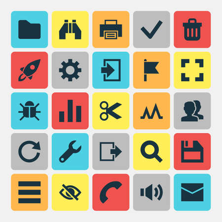 Interface Icons Set. Collection Of Dossier, People, Exit And Other Elements. Also Includes Symbols Such As Chart, Message, Print. Illustration