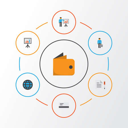 billfold: Business Flat Icons Set. Collection Of Global, Contract, Billfold And Other Elements