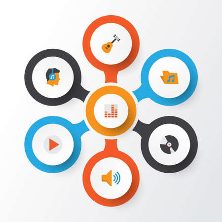 Music Flat Icons Set. Collection Of Controlling, Button, Male And Other Elements Illustration