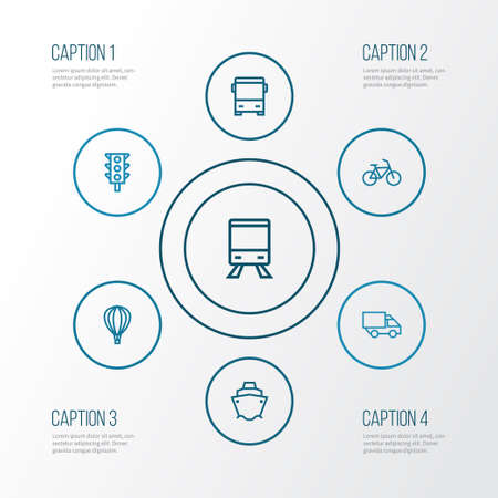 Shipment Outline Icons Set. Collection Of Bike, Cargo, Bus And Other Elements Illustration