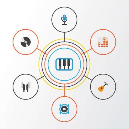 Muziek plat pictogrammen instellen. Verzameling van controle, luidspreker, luistergedeelte en andere elementen. Bevat ook symbolen zoals Synthesizer, Microfoon, Earmuff.