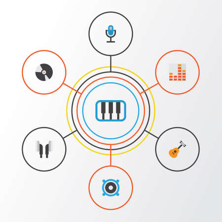 Music Flat Icons Set. Collection Of Controlling, Loudspeaker, Earpiece And Other Elements. Also Includes Symbols Such As Synthesizer, Mic, Earmuff.