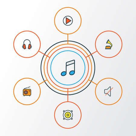 Audio Colorful Outline Icons Set. Collection Of Set, Sound, Play And Other Elements. Also Includes Symbols Such As Set, Off, Vinyl. Illustration