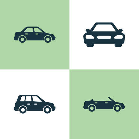 Car Icons Set. Collection Of Convertible Model, Car, Automobile And Other Elements
