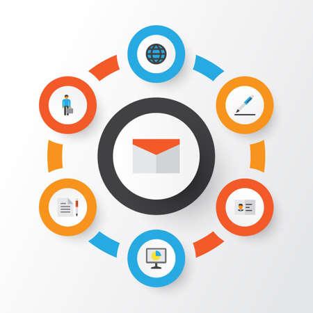 Business flat icons set. Illustration
