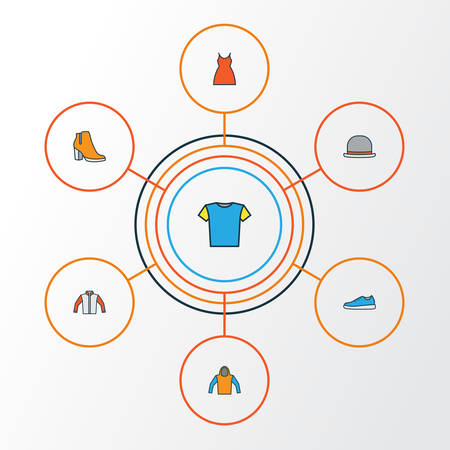 Clothes Colorful Outline Icons Set. Collection Of Panama, Sneakers, T-Shirt And Other Elements