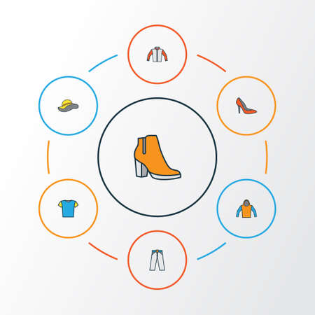 Clothes Colorful Outline Icons Set. Collection Of Elegant Headgear, Jacket, T-Shirt And Other Elements