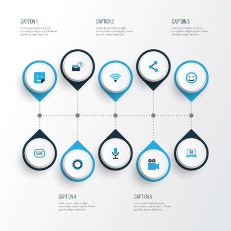 Media Colorful Icons Set. Collection Of Animation, Notification, Wifi And Other Elements Ilustrace