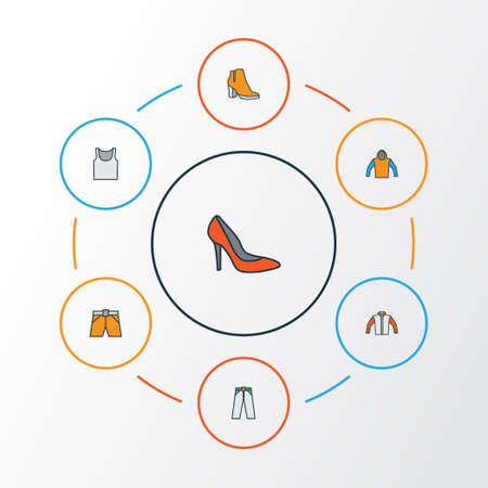 Garment Colorful Outline Icons Set. Collection Of Heels, Sweatshirt, Underwear And Other Elements. Also Includes Symbols Such As Hoodie, Shorts, Trousers. Illustration