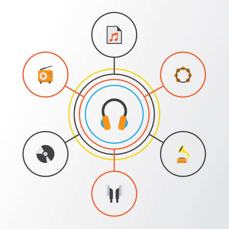 mp3 player: Music Flat Icons Set. Collection Of Broadcasting, Media, Dj And Other Elements. Also Includes Symbols Such As Fm, Broadcasting, Play.