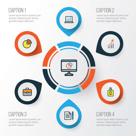 Trade Colorful Outline Icons Set. Collection Of Agreement, Pie Chart, Financial Profit And Other Elements Illustration