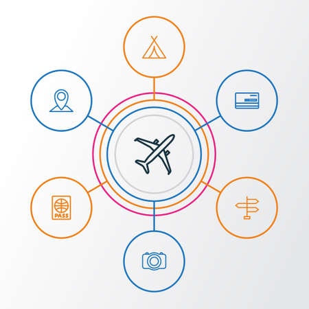Journey Outline Icons Set. Collection Of Plane, Video, Direction And Other Elements Illustration