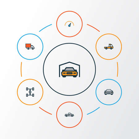 Automobile Colorful Outline Icons Set. Collection Of Speed, Automobile, Shed And Other Elements